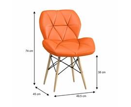 Cadeira Estofada Slim Eiffel Laranja Base Madeira