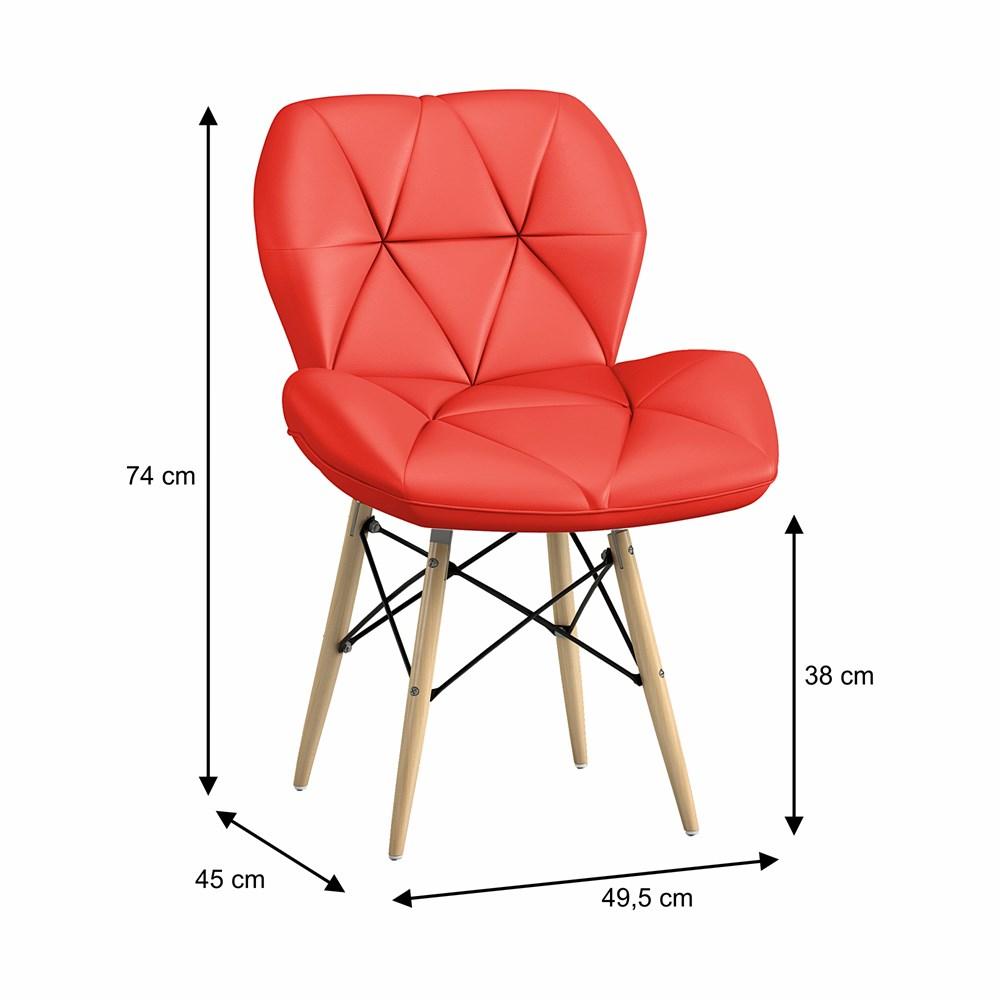 Cadeira Estofada Slim Eiffel Vermelha Base Madeira