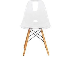 Cadeira Ghost Transparente com Base de Madeira Casa Aberta Brasil