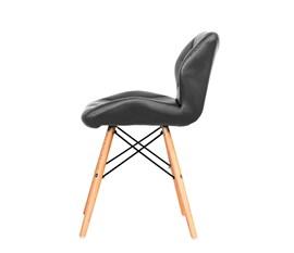 Cadeira Slim Eiffel Estofada Cinza Base Madeira
