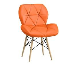 Cadeira Slim Eiffel Estofada Laranja Base Madeira