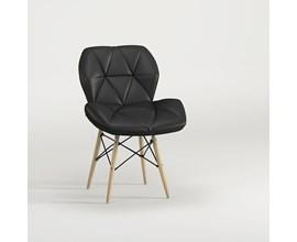 Cadeira Slim Eiffel Estofada Preta Base Madeira