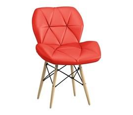 Cadeira Slim Eiffel Estofada Vermelha Base Madeira
