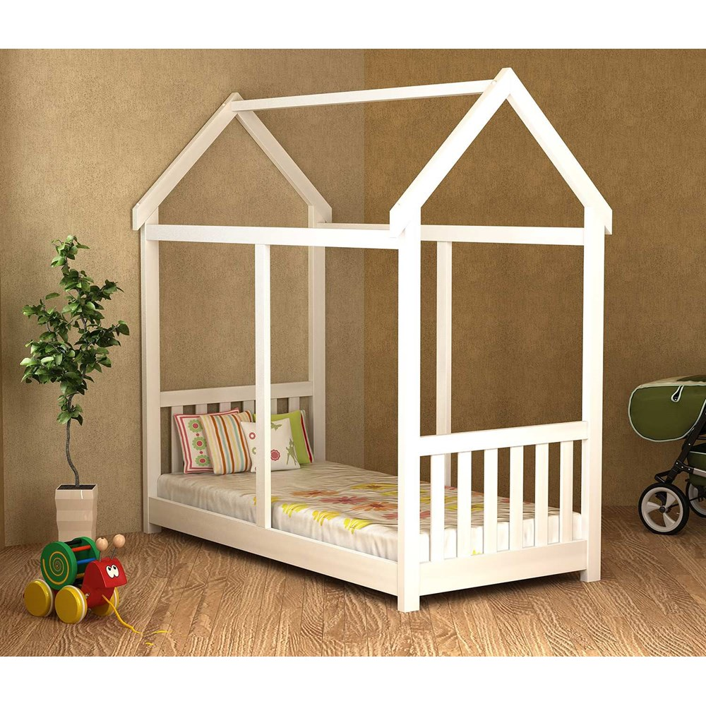 Cama Infantil Montessori Branco Lav. Madeira Maciça Móveis Saraiva