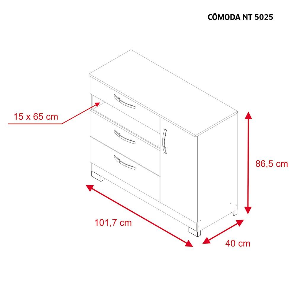 Cômoda com 1 Porta e 3 Gavetas Rústico Nt5025 Notável Móveis