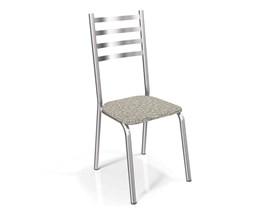 Conjunto 2 Cadeiras Alemanha Crome Cromado com Assento Linho Marrom Kappesberg