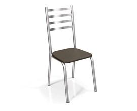 Conjunto 2 cadeiras Alemanha Crome Cromado com Assento Marrom Kappesberg