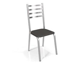 Conjunto 2 cadeiras Alemanha Crome Cromado com Assento Preto Kappesberg