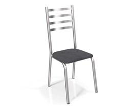 Conjunto 2 Cadeiras Alemanha Crome Cromado com Assento Preto Linho Cinza Kappesberg