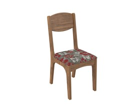 Conjunto 2 Cadeiras de Jantar Assento Estofado 100% MDF CA12 Nobre/Floral Vermelho Dalla Costa