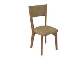 Conjunto 2 Cadeiras de Jantar Curva Estofada 100% MDF CA22 Nobre / Chenille Marrom Dalla Costa
