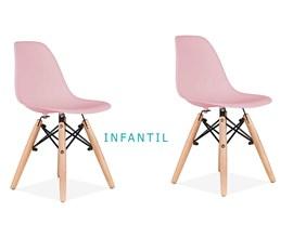 Conjunto 2 Cadeiras Eames Eiffel Infantil Rosa com Base de Madeira Casa Aberta Brasil