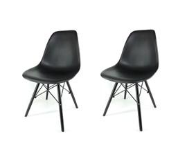 Conjunto 2 Cadeiras Eiffel com Pés de Madeira Preta Notável Móveis