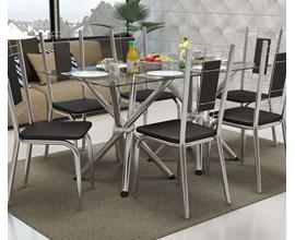 Conjunto 2 Cadeiras Florença Crome Cromado com Assento e Encosto Preto Kappesberg