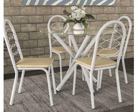 Conjunto 2 Cadeiras Holanda Crome Branco Fosco com Assento Nude Kappesberg