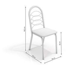Conjunto 2 cadeiras Holanda Crome Branco Fosco com Assento Preto Linho Cinza Kappesberg