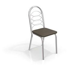 Conjunto 2 cadeiras Holanda Crome Cromado com Assento Marrom Kappesberg