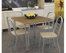 Conjunto 2 cadeiras Holanda Crome Cromado com Assento Nude Kappesberg