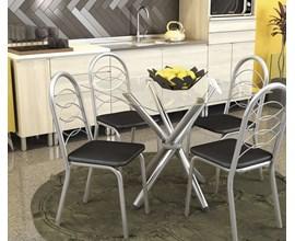 Conjunto 2 cadeiras Holanda Crome Cromado com Assento Preto Kappesberg
