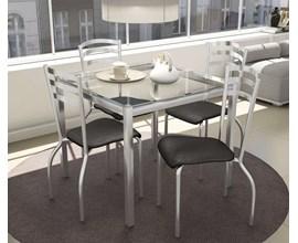 Conjunto 2 Cadeiras Lisboa Crome Cromado com Assento e Encosto Preto Linho Cinza Kappesberg