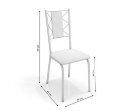 Conjunto 2 Cadeiras Lisboa Crome Preto Fosco com Assento e Encosto Branco Kappesberg