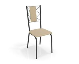 Conjunto 2 Cadeiras Lisboa Crome Preto Fosco com Assento e Encosto Nude Kappesberg