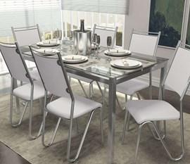 Conjunto 2 cadeiras Londres Crome Cromado/Branco Kappesberg