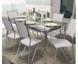 Conjunto 2 Cadeiras Londres Crome Cromado com Assento e Encosto Branco Kappesberg