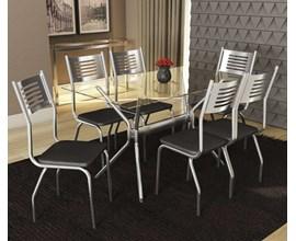 Conjunto 2 Cadeiras Munique Crome Cromado com Assento Preto Kappesberg