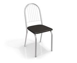 Conjunto 2 cadeiras Noruega Crome Cromado com Assento Preto Kappesberg