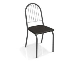 Conjunto 2 cadeiras Noruega Crome Preto Fosco com Assento Preto Kappesberg