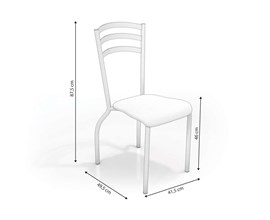 Conjunto 2 Cadeiras Portugal Crome Cromado com Assento Branco Kappesberg