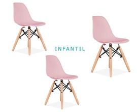 Conjunto 3 Cadeiras Eames Eiffel Infantil Rosa Com Base De Madeira Casa Aberta Brasil