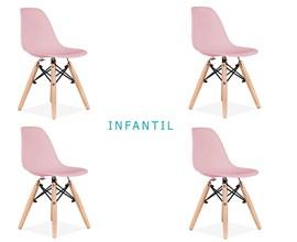 Conjunto 4 Cadeiras Eames Eiffel Infantil Rosa com Base de Madeira Casa Aberta Brasil