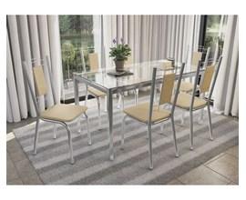 Conjunto 4 Cadeiras Florença Crome Cromado com Assento e Encosto Nude Kappesberg