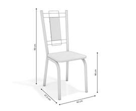 Conjunto 4 Cadeiras Florença Crome Cromado com Assento e Encosto Preto Linho Cinza Kappesberg