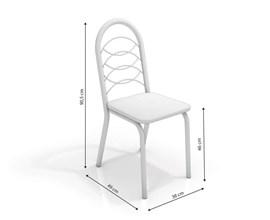 Conjunto 4 cadeiras Holanda Crome Branco Fosco com Assento Preto Kappesberg