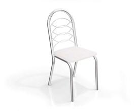 Conjunto 4 Cadeiras Holanda Crome Cromado com Assento Branco Kappesberg
