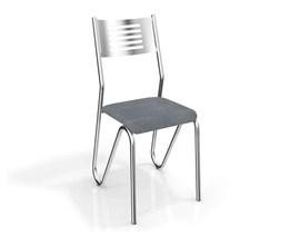 Conjunto 4 Cadeiras Nápoles Crome Cromado/Preto Linho Cinza Kappesberg