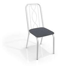 Conjunto 4 Cadeiras Viena Crome Cromado/Preto Linho Cinza Kappesberg