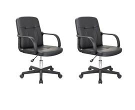 Conjunto com 02 Cadeiras Giratória Para Escritório Preta Casa Aberta Brasil
