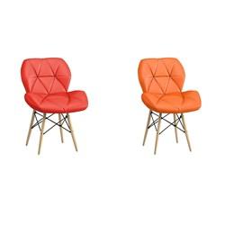 Conjunto com 1 Cadeira Eiffel Vermelha e 1 Cadeira Eiffel Laranja