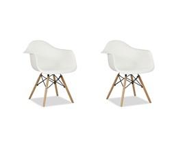 Conjunto com 2 Cadeiras Charles Eames com Braço Branca