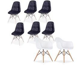 Conjunto com 2 Cadeiras Charles Eames com braço Branca e 6 Cadeiras Botonê Preta