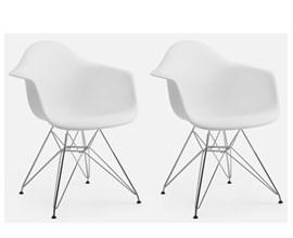 Conjunto com 2 Cadeiras Charles Eames com Braço e Pés Metálicos Branca Casa Aberta Brasil