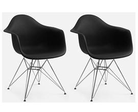 Conjunto com 2 Cadeiras Charles Eames com Braço e Pés Metálicos Preta Casa Aberta Brasil