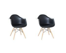 Conjunto com 2 Cadeiras Charles Eames com Braço Preta