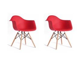 Conjunto com 2 Cadeiras Charles Eames com Braço Vermelha