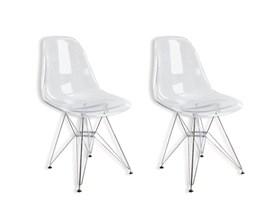 Conjunto com 2 Cadeiras Charles Eames Eiffel Policarbonato Transparente
