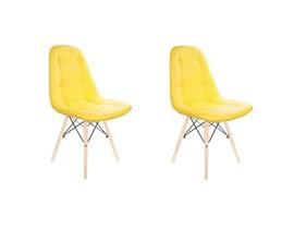 Conjunto com 2 Cadeiras Eames Botonê Base Eiffel de Madeira Amarela